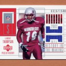 2002 UD Piece Of History Football #156 Lamont Thompson RC Game-Used Jersey 0316/1500