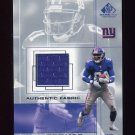2001 SP Game Used Edition Authentic Fabric #AT Amani Toomer - New York Giants Game-Used Jersey