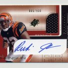 2001 SPx Football #111G Rudi Johnson RC - Cincinnati Bengals AUTO Game-Used Jersey 005/900