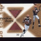 2001 Upper Deck Top Tier Rookie Duos #RDJJ Chad Johnson / Rudi Johnson - Bengals Dual Game-Used