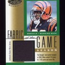 2001 Leaf Certified Materials Fabric Of The Game #077SN Corey Dillon - Bengals Game-Used Jersey /315