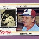 1978 Topps Baseball #522 Dick Williams MG - Montreal Expos NM-M