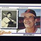 1978 Topps Baseball #256 Joe Altobelli MG RC - San Francisco Giants