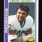 1978 Topps Football #276 Diron Talbert - Washington Redskins ExMt