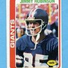 1978 Topps Football #139 Jimmy Robinson - New York Giants