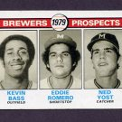 1979 Topps Baseball #708 Kevin Bass RC / Eddie Romero RC / Ned Yost RC - Milwaukee Brewers Vg