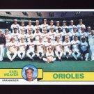 1979 Topps Baseball #689 Baltimore Orioles Team Checklist / Earl Weaver MG NM-M