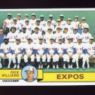 1979 Topps Baseball #606 Montreal Expos Team Checklist / Dick Williams MG ExMt