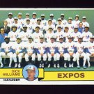 1979 Topps Baseball #606 Montreal Expos Team Checklist / Dick Williams MG Ex