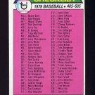 1979 Topps Baseball #602 Checklist 485-605 ExMt
