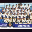 1979 Topps Baseball #577 Milwaukee Brewers Team Checklist / George Bamberger MG Ex