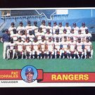 1979 Topps Baseball #499 Texas Rangers Team Checklist / Pat Corrales MG NM-M