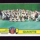 1979 Topps Baseball #356 San Francisco Giants Team Checklist / Joe Altobelli MG Vg