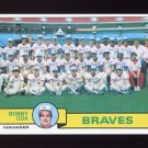 1979 Topps Baseball #302 Atlanta Braves Team Checklist / Bobby Cox MG NM-M
