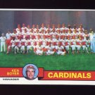 1979 Topps Baseball #192 St. Louis Cardinals Team Checklist / Ken Boyer MG Ex