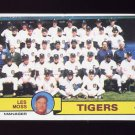 1979 Topps Baseball #066 Detroit Tigers Team Checklist / Les Moss MG Ex