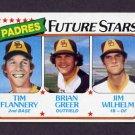 1980 Topps Baseball #685 Tim Flannery RC / Brian Greer RC / Jim Wilhelm RC - San Diego Padres ExMt