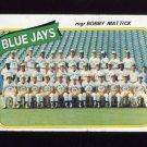 1980 Topps Baseball #577 Toronto Blue Jays CL / Bobby Mattick Vg