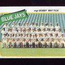 1980 Topps Baseball #577 Toronto Blue Jays CL / Bobby Mattick ExMt