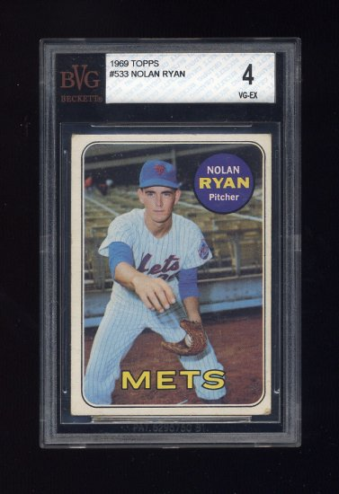 1969 Topps Baseball #533 Nolan Ryan - New York Mets Graded BVG 4