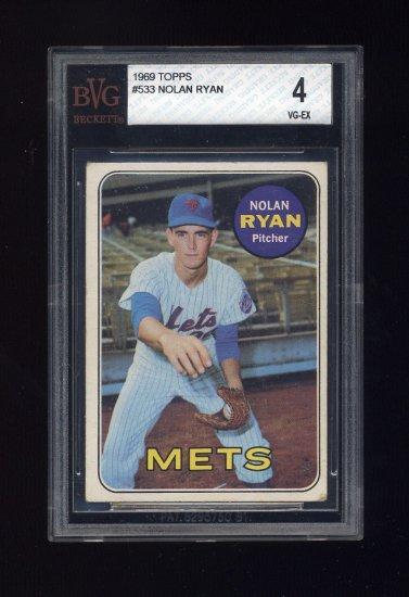 1969 Topps Baseball #533 Nolan Ryan - New York Mets Graded BVG 4
