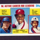 1984 Topps #704 NL Active Career RBI Leaders Tony Perez / Rusty Staub / Al Oliver