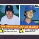 1984 Topps Baseball #137 ERA League Leaders Atlee Hammaker / Rick Honeycutt