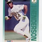 1992 Fleer Baseball #258 Rickey Henderson - Oakland A's