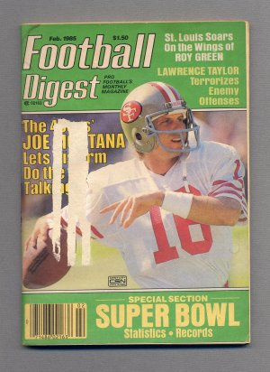 Football Digest February 1985 with Joe Montana of the San Francisco 49ers on the Cover
