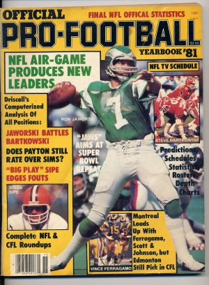 1981 Official Pro-Football Yearbook with Jaworski / Bartkowski / Sipe and Ferragamo