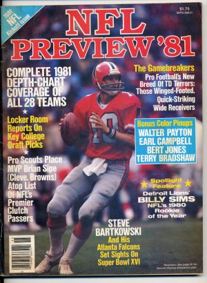 NFL Preview '81 Magazine with Steve Bartkowski of  the Atlanta Falcons on the Cover