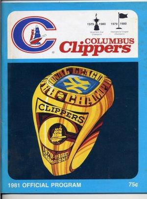 1981 Columbus Clippers Baseball Official Program and Souvenir Magazine