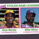 1980 Topps Baseball #204 Stolen Base Leaders Omar Moreno / Willie Wilson VgEx