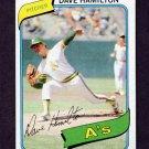 1980 Topps Baseball #086 Dave Hamilton - Oakland A's