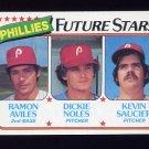 1980 Topps Baseball Blank Back Error RC #682 Ramon Aviles / Dickie Noles / Kevin Saucier - Phillies