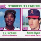 1980 Topps Baseball Blank Back Error #206 J.R. Richard / Nolan Ryan Strikeout Leaders