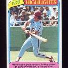 1980 Topps Baseball Blank Back Error #004 Pete Rose HL - Philadelphia Phillies
