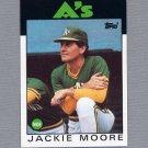 1986 Topps Baseball #591 Jackie Moore MG / Oakland A's Team Checklist