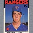 1986 Topps Traded Baseball #126T Bobby Witt RC - Texas Rangers