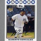 2008 Topps Update Baseball #UH207 Alberto Gonzalez RC - New York Yankees