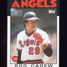1986 Topps Baseball #400 Rod Carew - California Angels
