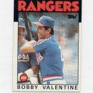1986 Topps Baseball #261 Bobby Valentine MG / Texas Rangers Team Checklist