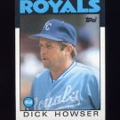 1986 Topps Baseball #199 Dick Howser MG / Kansas City Royals Team Checklist