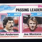 1982 Topps Football #257 Ken Anderson / Joe Montana / Passing Leaders