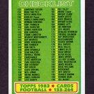 1983 Topps Football #395 Checklist 133-264