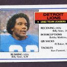 1983 Topps Football #058 Detroit Lions Team Leaders / Billy Sims