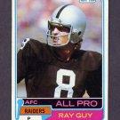 1981 Topps Football #510 Ray Guy - Oakland Raiders Vg