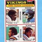 1981 Topps Football #432 Minnesota Vikings TL / Ahmad Rashad Ex