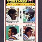 1981 Topps Football #432 Minnesota Vikings TL / Ahmad Rashad Vg