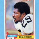 1981 Topps Football #278 Ron Johnson - Pittsburgh Steelers